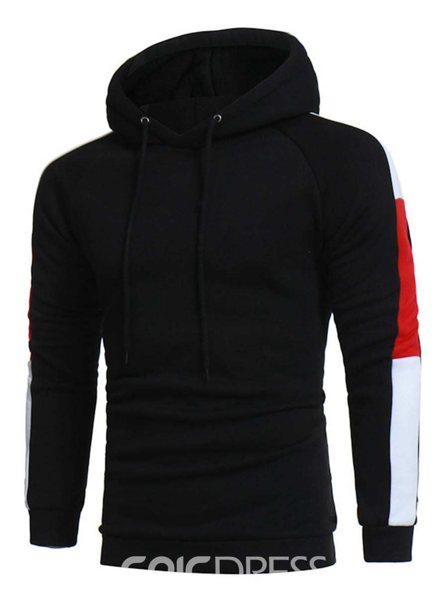 Ericdress Plus Size Color Block Patched Casual Pullover Men's Hoodie