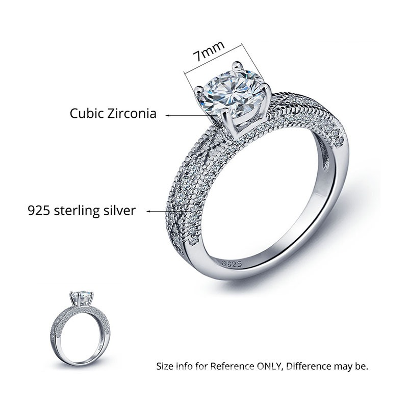 MarkChic High End S925 Sterling Silver Engagement Ring for Women