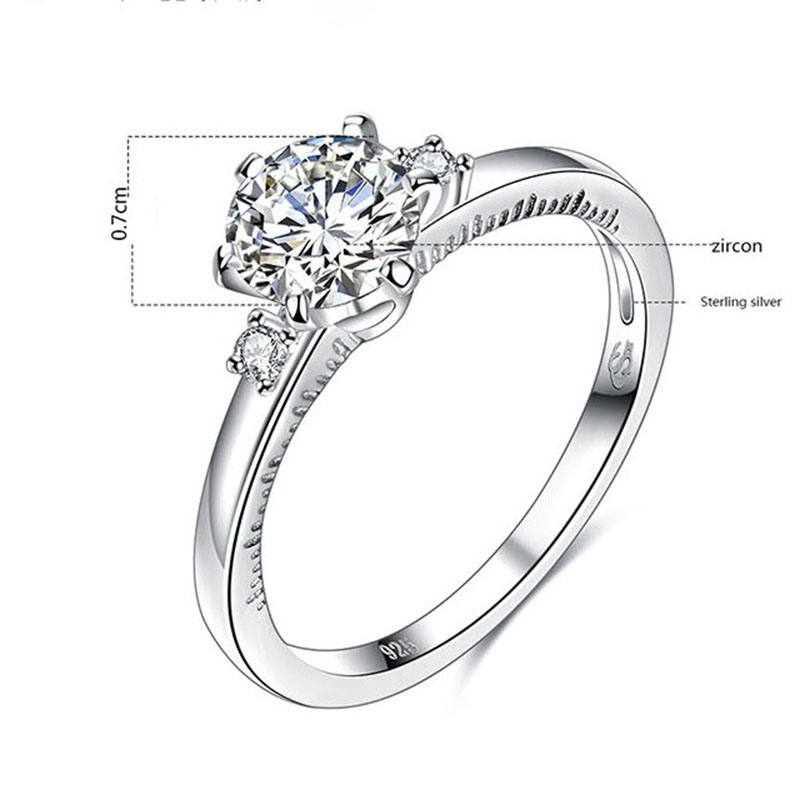 MarkChic Three-Stone Diamante Wedding Ring for Women
