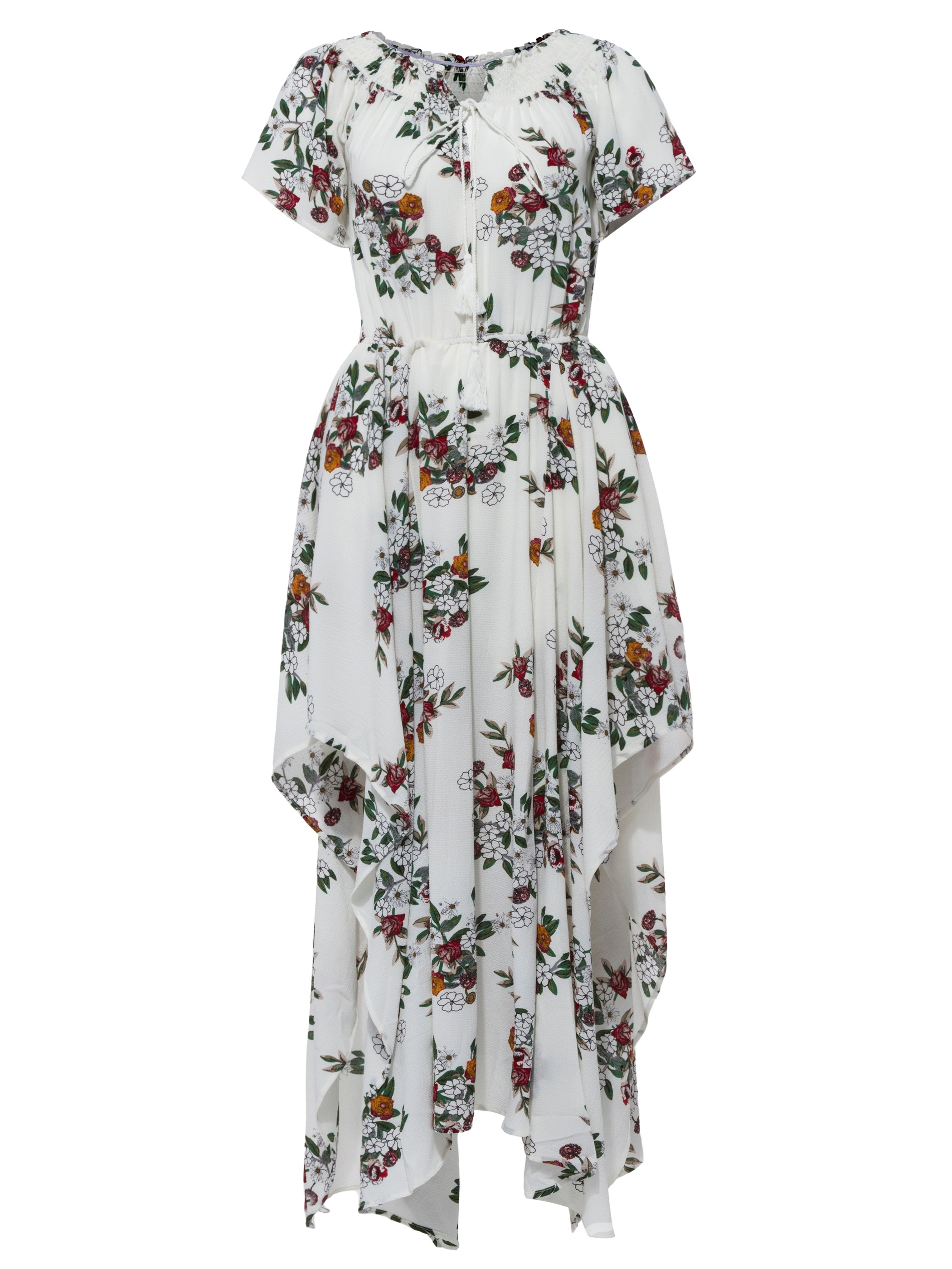Ericdress Slash Neck Floral Print Asymmetric Maxi Dress