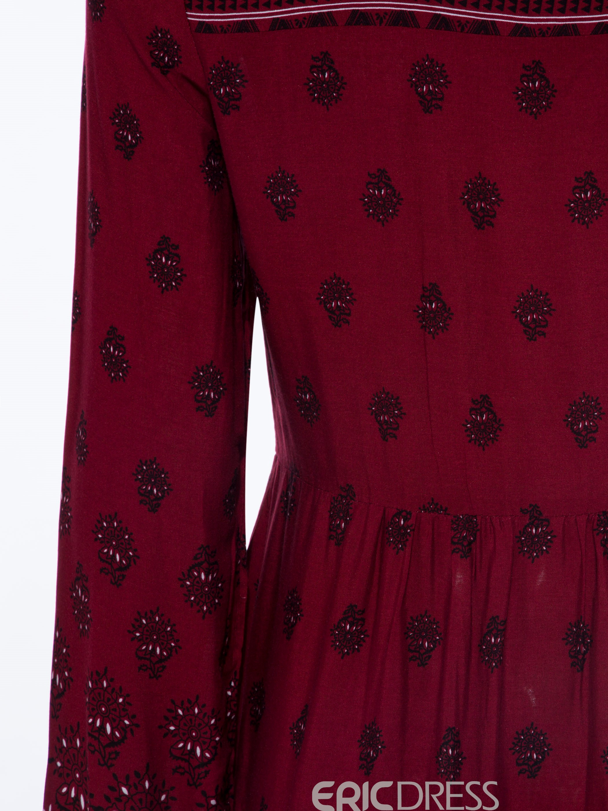 Ericdress Single-Breasted Flower Print A Line Dress