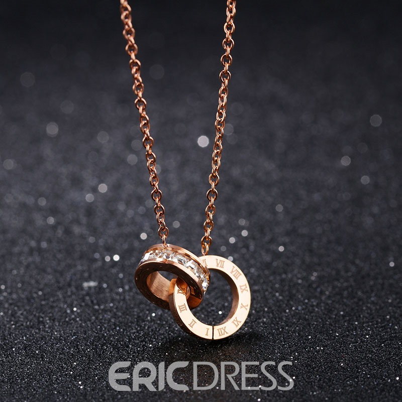 MarkChic Diamante Rose Gold Plating Necklace for Women