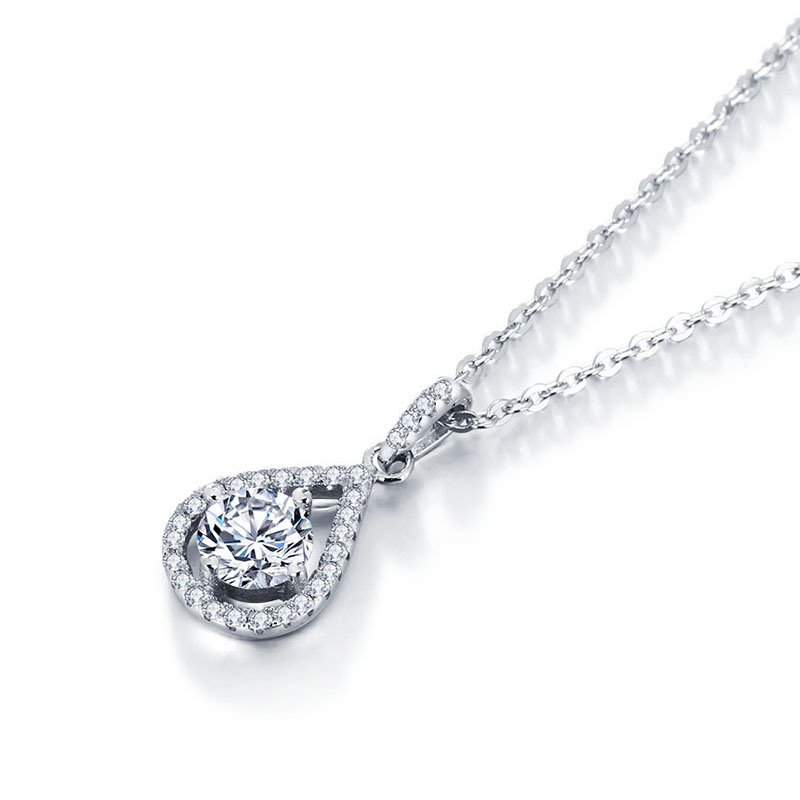 MarkChic Elegant S925 Sterling Silver Waterdrop Pendant Diamante Necklace