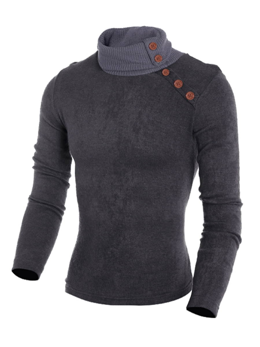 Ericdress Plain Heap Collar Slim Men's Sweater