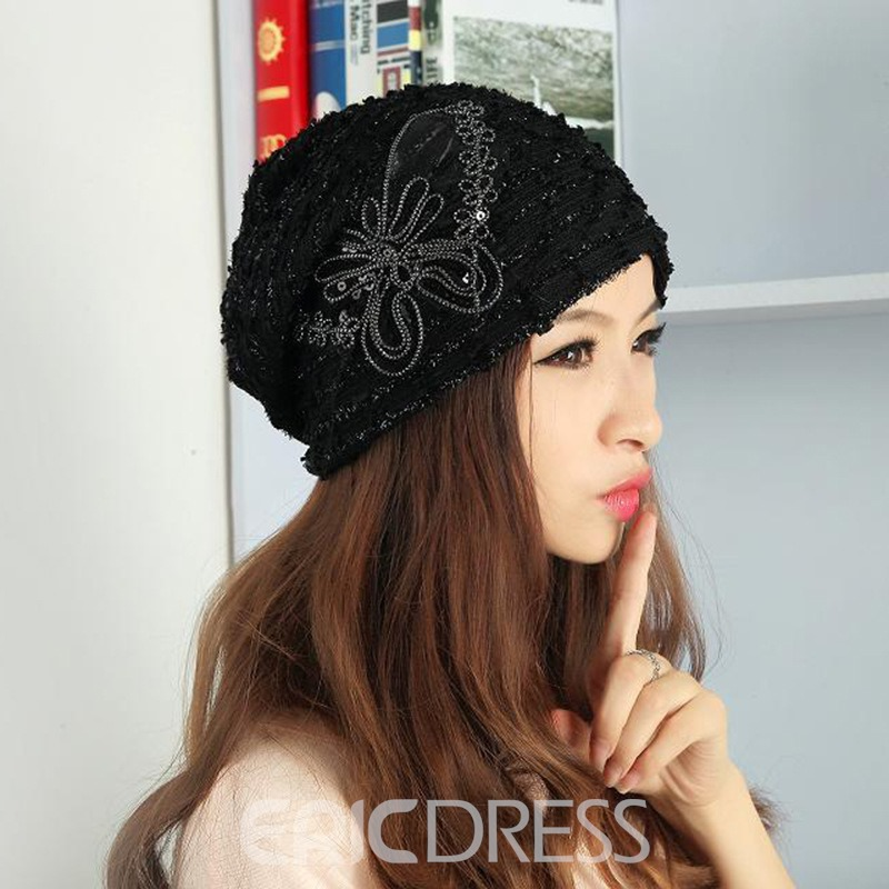 Ericdress Sweet Soild Color Paillette Lace Butterfly Women's Warm Hat