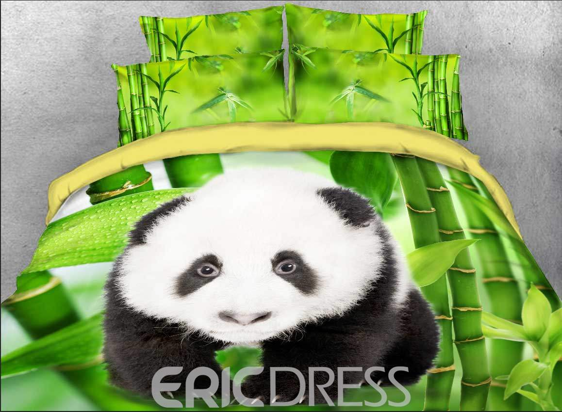 Vivilinen Panda Cub and Green Bamboo Printed Cotton 3D 4-Piece Bedding Sets/Duvet Covers