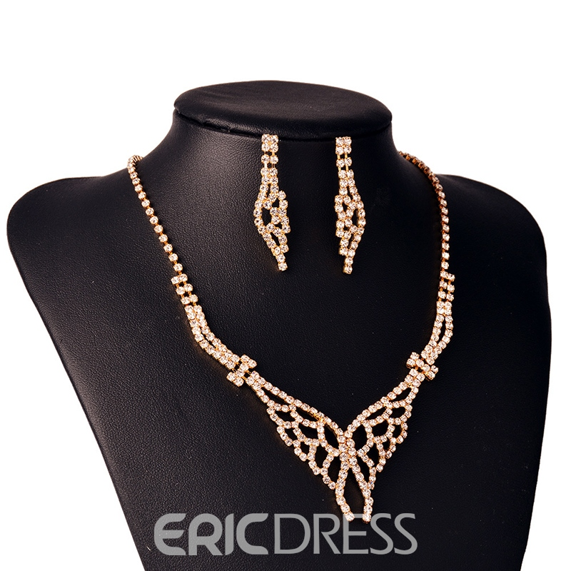 Ericdress Two-Piece Diamante Butterfly Wedding Pendant Jewelry Set