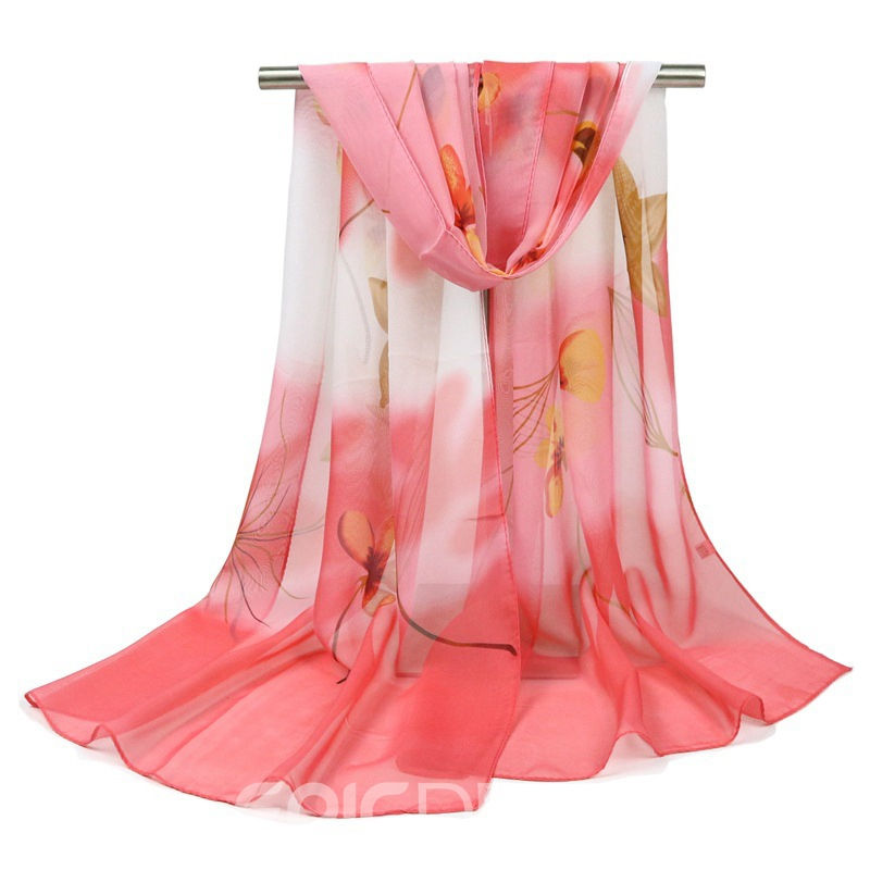 Ericdress Chiffon Flower Printed Women's Scarf for Four Seasons