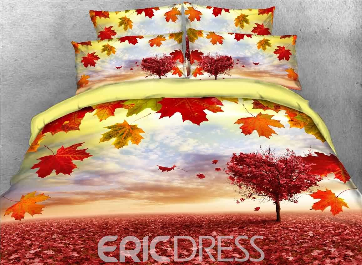 Maple Leaves and Heart-shaped Tree Printed 3D 4-Piece Bedding Sets/Duvet Covers