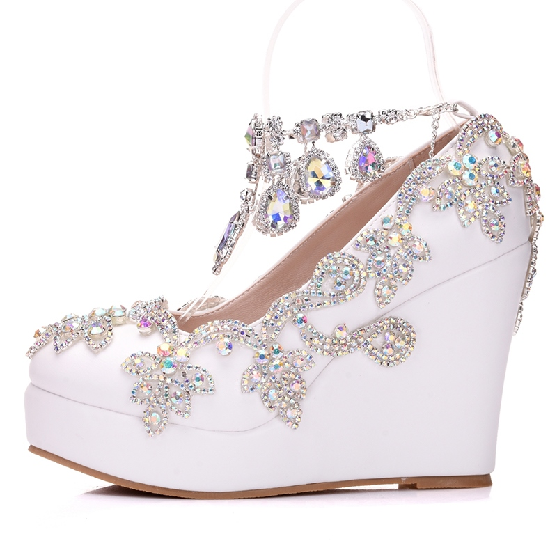 Ericdress Rhinestone Chain Platform Wedge Heel Wedding Shoes