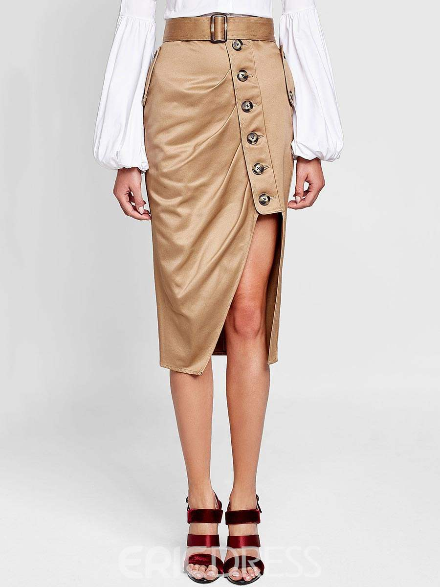 Ericdress Asymmetrical Button Women's Skirt