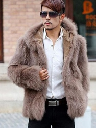 Ericdress Plain Fur Hooded Thicken Warm Vogue Mens Winter Coat фото