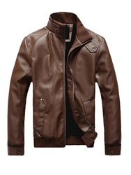 Ericdress Plain PU Leather Zip Stand Collar Vogue Mens Jacket фото