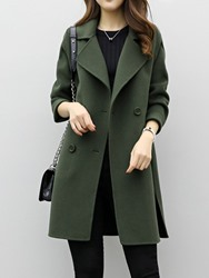 Ericdress Mid-Length Plain Double-Breasted Coat - $19.60