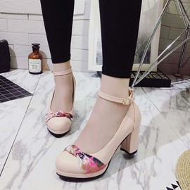 Ericdress Floral Low-Cut Patchwork Chunky Heel Pumps