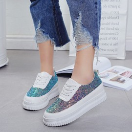 Ericdress Sequin Platform Lace-Up Women's Sneakers