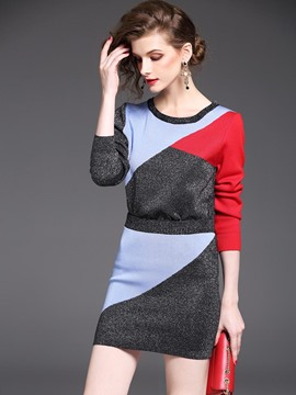 Ericdress Color Block Sweater and Skirt Women's Suit