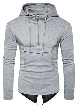 Ericdress Zip Patched Casual Pullover Men's Hooide