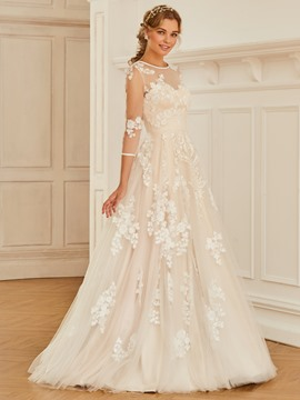 Ericdress Appliques Button Wedding Dress with Sleeve