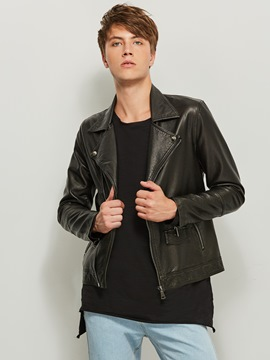 ericdress gekerbt revers solid color slim pu men's jacke
