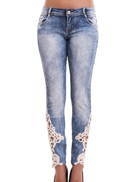 Ericdress Lace Low-Waist Pocket Jeans