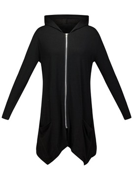 ericdress plain mid-length cardigan cool hoodie