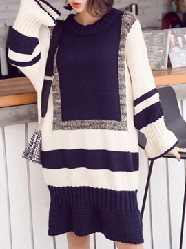 Ericdrss Color Block Marmaid Young Casual Sweater Dress
