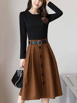 Ericdress ContrastColor Double-Layer Long Sleeve Dress