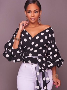 Ericdress V-Neck Polka Dot Ruffle Sleeve T-shirt