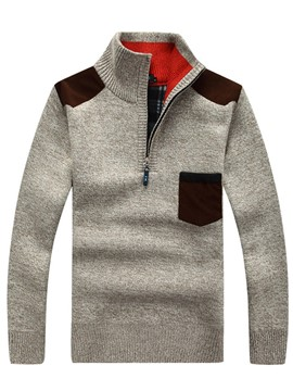 Ericdress Woolen Color Block Patched Pullover Men's Sweater