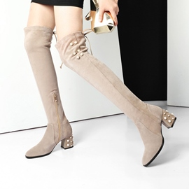 Ericdress Fashionable Round Toe Plain Knee High Boots with Beads