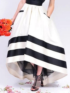 Ericdress Stripe High-Waist Asymmetric Pocket Skirts