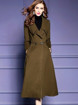Ericdress Slim Plain Long Notched Lapel Coat