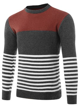 Ericdress Color Block Stripe Round Neck Men's Sweater