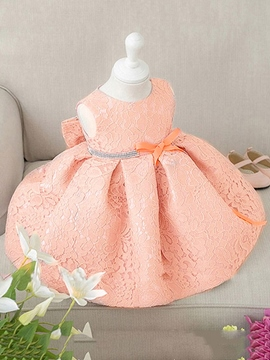 Ericdress Sweet Lace Bowknot Sleeveless Baby Girls Princess Dress