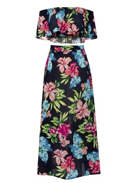 Color Block Floral Print Women's Skirt Suit