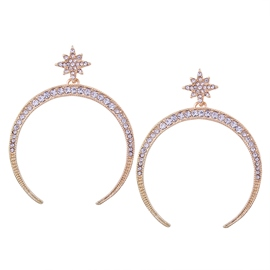 Ericdress Shining Diamante Circle Pendant Rose Gold Earring
