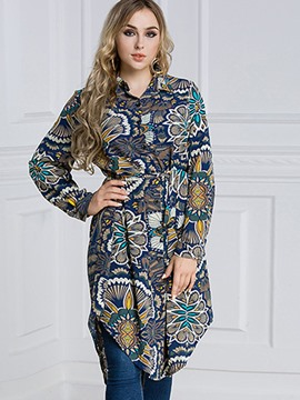 Ericdress Print Floral Plus-Size Long Blouse