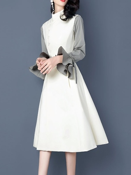 Ericdress Stand Collar Ruffles Long Sleeve Dress