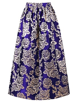 Ericdress Ankle-Length High-Waist Expansion Floral Women's Skirt