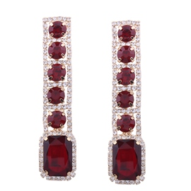 Ericdress Splendid Ruby Inlay Rectangle Drop Earring