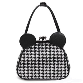 Ericdress Mickey Head Shape Houndstooth Handbag