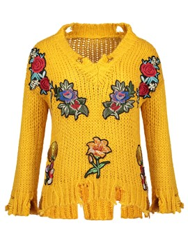 Ericdress Floral Embroideried Pullover Holed Sweater
