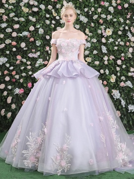 ericdress off-the-épaule fleurs robe de quinceanera