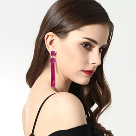 Ericdress Charming Beads Solid Color Long Drop Earring