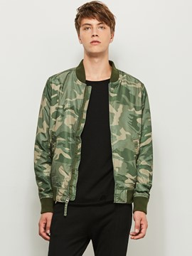 Ericdress Stand Collar Camouflage Print Slim Zipper Men's Jacket