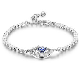 MarkChic Fully-Jewelled Blue Eye Bracelet for Women