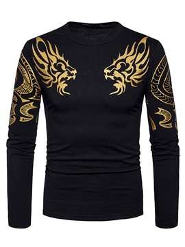 Ericdress Round Neck Print Long Sleeve Men's T-Shirt
