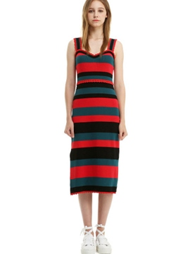 Ericdress Suspenders Striped Color Block Sweater Maxi Dress