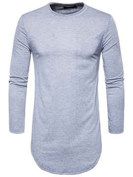 Ericdress Zip Patched Plain Mid-Length Casual Men's T-Shirt